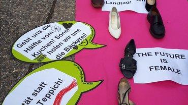 Aktion vor dem Landtag für eine Änderung des Landtagswahlrechts