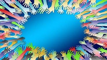 Solidarität gemeinsam stark Team Hände Illustration