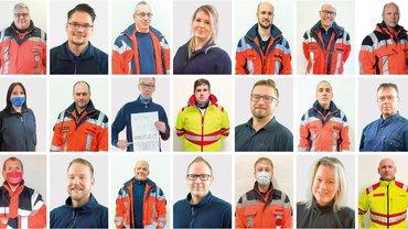 Fotomontage vieler Beschäftigter im Rettungsdienst
