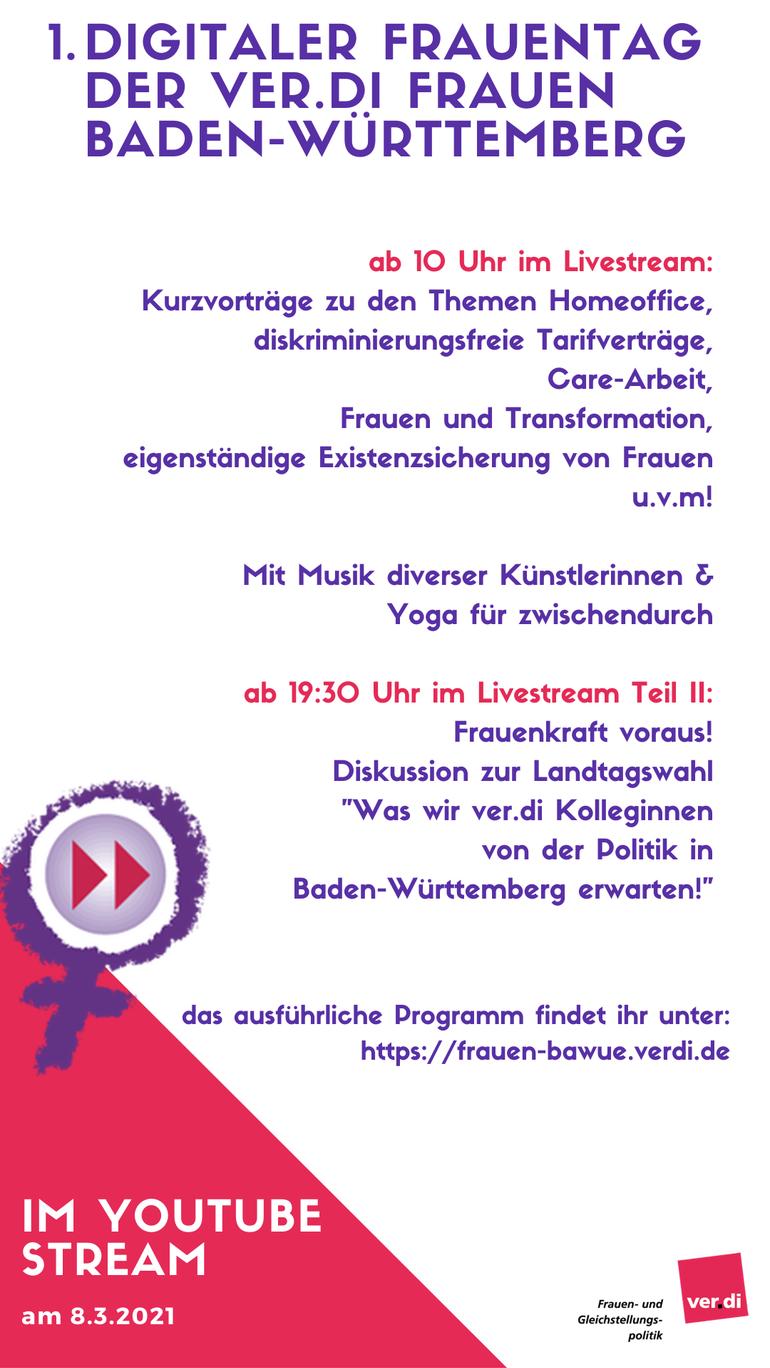 Ankündigung zum ersten digitalen Frauentag der ver.di-Frauen Baden-Württemberg